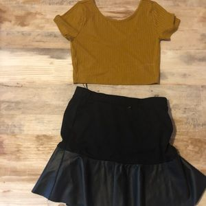 Double Zero mustard crop top